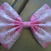 Light Pink and White Lace fabric hair Bow barrette for teens and women,french barrette, hair bows bow hair clip big bow hair clip