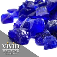 """VIVID Heat - Vibrant Luster """"Cobalt Blue"""" 1/4"""" Rough Crushed Gem Style, (Price by the Pound) - Tempered Fire Glass Rock for Fireplace and Fire Pit"""
