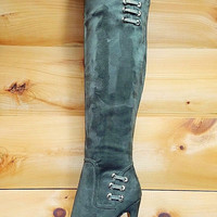 "May La Army Green Olive Snake Platform Over the Knee Boots - 5"" Stiletto Heels"
