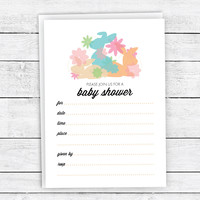 Pretty Bunnies & Flowers - Fill-In Baby Shower Invitations