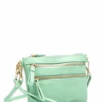 Double Zippered Faux Leather Wristlet