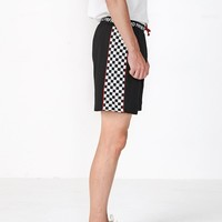 Checkered Stripe Track Shorts
