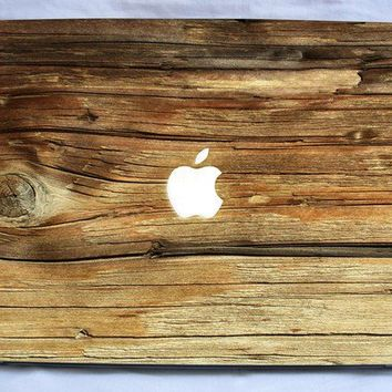 Natural wood vinyl macbook and laptop decal by SistersDecal