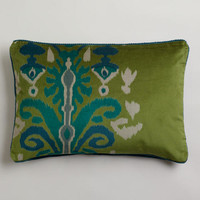 Green Ikat Velvet Dori Lumbar Pillow | World Market