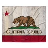 "Bruce Stanfield ""California Flag Wood"" Brown Fleece Throw Blanket"