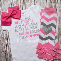 My finger's may be small bodysuit, with optional leg warmers and bow. Pink and silver glitter. Baby girl gift. Baby shower. Daddy's girl