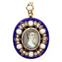 A BLUE ENAMEL AND GEMSET BROOCH WITH 18TH CENTURY MINIATURE - Bentley & Skinner