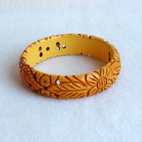Carved Bakelite Bracelet Panisies Pineapple Pierced Deep Cut Bangle Art Deco Costume Jewelry Three Quarters Of An Inch Wide Butterscotch