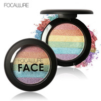 FOCALLURE DIY Rainbow Highlighter Face Brightener Bronzer Contour Kits Shimmer Glow Kit Powder Highlighter Rainbow Makeup