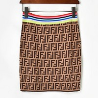 Fendi Summer New Fashion More Letter Print Women Leisure Skirt Coffee