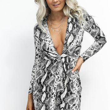 Our Flame Long Sleeve Gray Snakeskin Dress