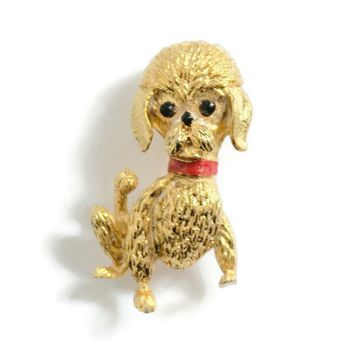 Gold Tone Poodle Brooch Pin, With Red Enamel Collar, And Black Bead Eyes