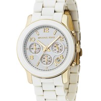 Michael Kors Women's Chronograph Runway White Polyurethane and Gold-Tone Bracelet Watch MK5145