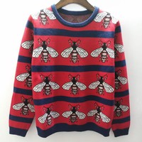 Gucci Bee Women Jacquard Print Round Collar Knit Pullover Top Sweater Blouse