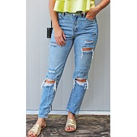 RESTOCK! relax the day away distressed mom jeans [light denim]