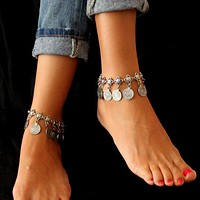 Vintage Silver Color Bohemian Metal Tassel Anklet Luxury Charm Coin Ankle Bracelet For Women