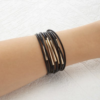 Layered Faux Leather Bracelet