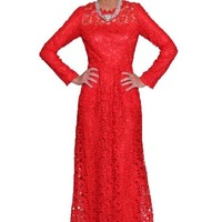 Beautifly Women's Long Sleeve Thick Lace Gown