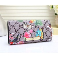 Gucci Women Leather Flower Print Purse Wallet G