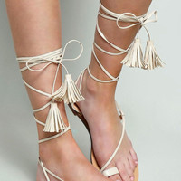 Nude Gladiator Lace Up Strappy Sandals