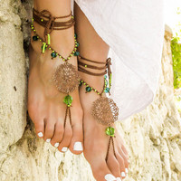 Gypsy barefoot sandals Boho toe anklet Bottomless sandals Beach wedding Hippie footless sandles Foot jewelry barefoot sandal Soleless sandal