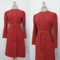 50% Off Dress SALE Vintage 70s Dress / Roth Le Cover Tomato Red Ultrasuede Suede Indie Belted Winter Shirt Coat