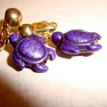 Purple Turtle Clip On Earrings - Gemstone Turtle Clip On Earrings - Purple Earrings -Clip Ons -Natural Gemstone Turtles - Statement Earrings