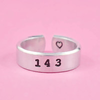 143 - Hand Stamped Aluminum Cuff Ring, Love Ring, I Love You Ring, Best Gift Ring