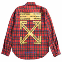 OFF-WHITE 2018 autumn and winter new yellow cordon printed men and women with the same shirt Red