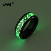 UNB 6 Style Stainless Steel Dragon Ring Jewelry How to Train Your Dragon for Men Luminous Rings Carbon Fiber Nibelungen Ring 009