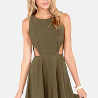 Run the Show Backless Olive Green Dress