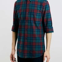 Burgundy Tartan Long Sleeve Oxford Shirt - Men's Shirts - Clothing