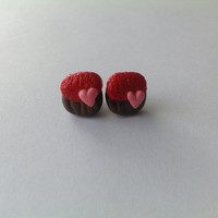 Valentine's Day Earrings Cupcake Polymer Clay
