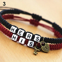 2016 New New 2Pcs Hers His Braid Tangle Couple Bracelets Gift Lovers' Bracelets Fast Shipping 168WG07