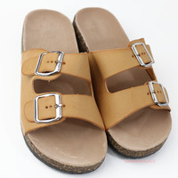 Back To Cool Tan Two Strap Buckle Sandals