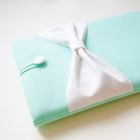 13 inch MacBook Pro/Air/Retina Sleeve,Exquisite home for your Laptop, Padded Case,SUPERIOR Shock Absorbent Foam Padding-Light Mint,White Bow