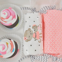 Baby Girl Gift Washcloth Cupcakes Candies Box 6 months monkey