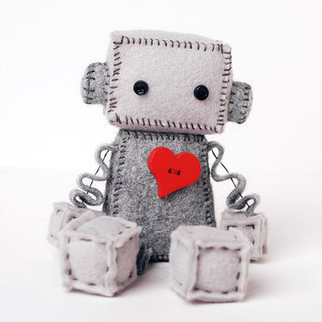 Little Robot Plush with a Big Red Heart, Robot Doll, Valentine Robot