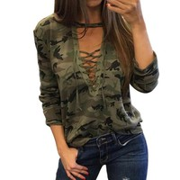 Chenier OPAL FERRIE  -  2017 Sexy Camouflage Lace Up T-Shirt