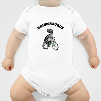 Personalized Dinosaur Baby Bodysuit, Dinosaur Riding a Bike, Baby Clothes, Gift for New Baby, Baby Shower Gift for Boy, Hipster Baby Clothes