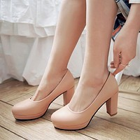 Round Toe Platform Pumps Chunky Heel Jelly Shoes 1919