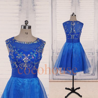 Royal Blue Bridesmaid Dresses ,Crystals Organza Prom Dresses 2015, Homecoming Dresses, Party Dress,Wedding Party Dresses,Cocktail Dresses