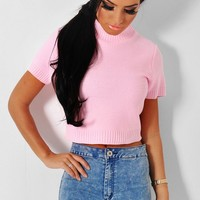 Caria Pink Cropped Knitted Jumper | Pink Boutique
