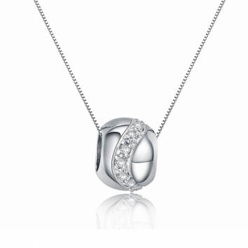 Sterling Silver Cubic Zirconia Decorated Bead Charm Pendant Necklace