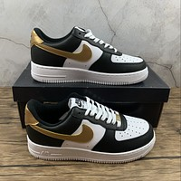 Morechoice Tuhz Nike Air Force 1 07 Black Gold Low Sneakers Casual Skaet Shoes Cz9189-001