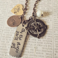 Hammered hand stamped  necklace with pewter Dr. Suess quote teacher graduate gift
