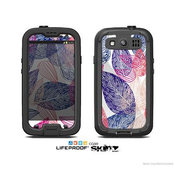 The Seamless Pink & Blue Color Leaves Skin For The Samsung Galaxy S3 LifeProof Case