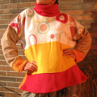 TALL SIZE extra long SLEEVES xxl 2xl Tall People - red sunny yellow beige circles - Unique Sweater Pullover Sweat Shirt warm outdoor fleece