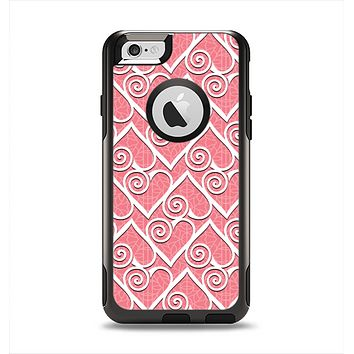 The Pink and White Swirly Heart Design Apple iPhone 6 Otterbox Commuter Case Skin Set