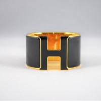 Authentic HERMES Clic Clac Black H Bracelet PM Size Extra Wide
